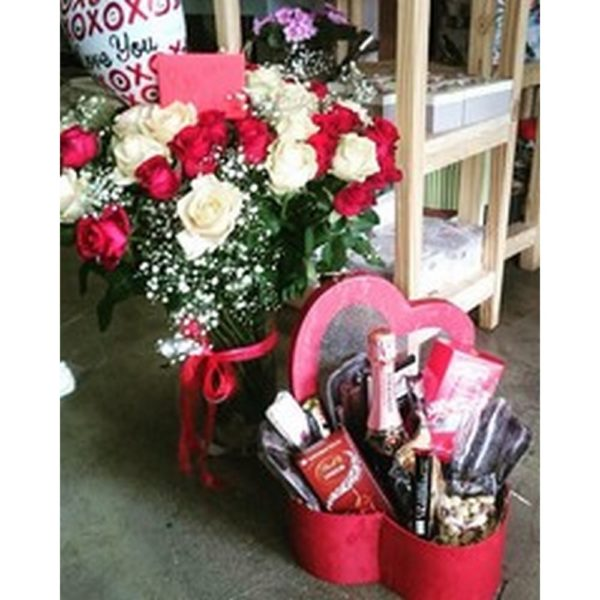 Valentines Heart Hamper and Flowers V12