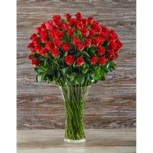 50 Red Roses in a glass vase V17