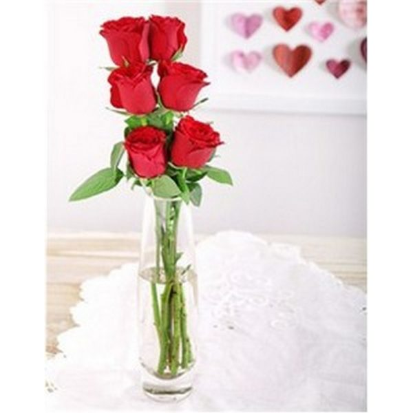 6 roses in small vase resized