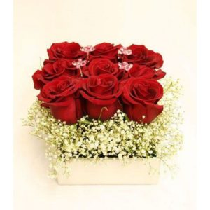 9 Red Roses in a Wooden box V16