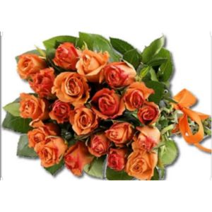 20 Orange Roses wrapped in Brown Paper