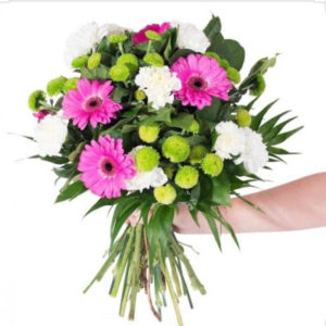 Pink, Green and White Bouquets
