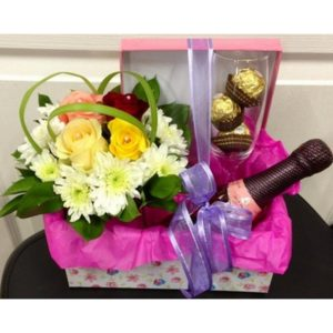 Flower Arrangment and Baby Cham and Chocolates in Gift box H20