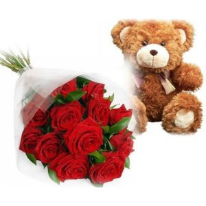 12 Roses and Teddy Bear V04