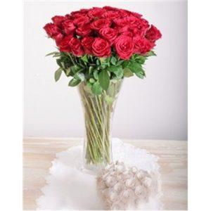 20 Red Roses in a Glass Vase V03